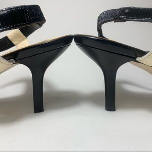 kate spade Shoes - Kate Spade White Brown Black Patent Sandals 7 1/2